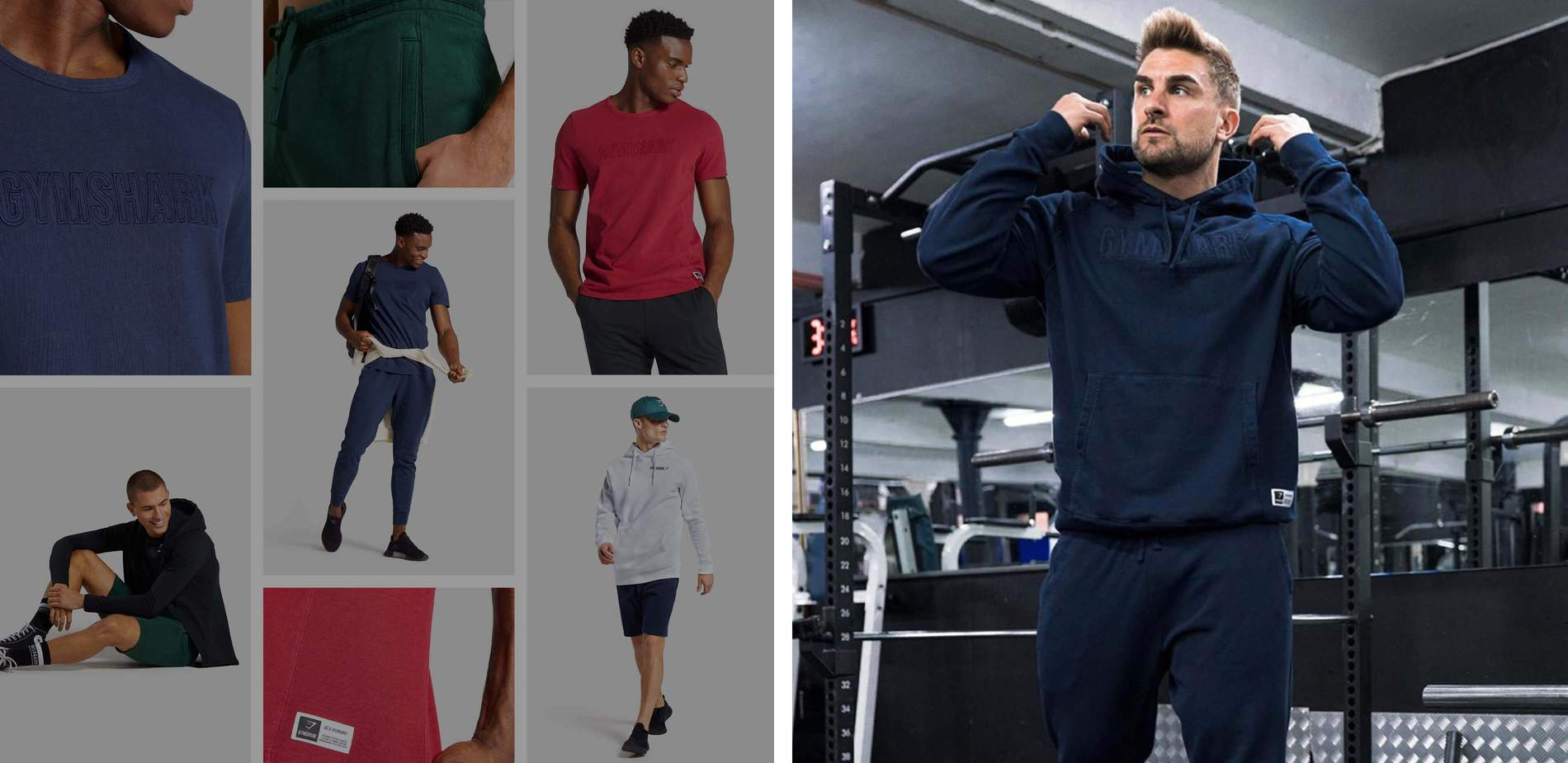 A collage of Ryan Terry wearing the Track Collection, with a grid of the Track Collection product images.