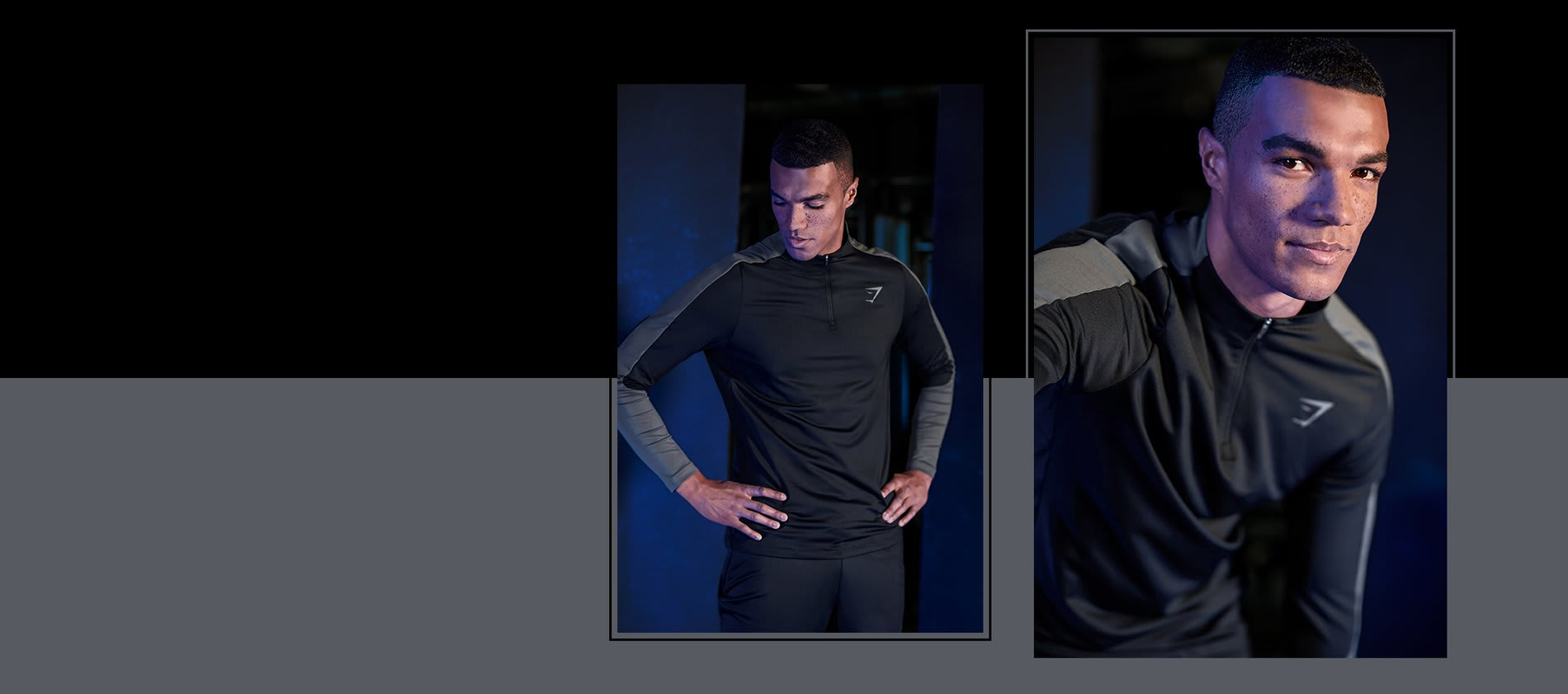 Close up and zoomed out images of a model in the black Regulate 1/4 zip pullover with grey on the arms. Background is black and grey.