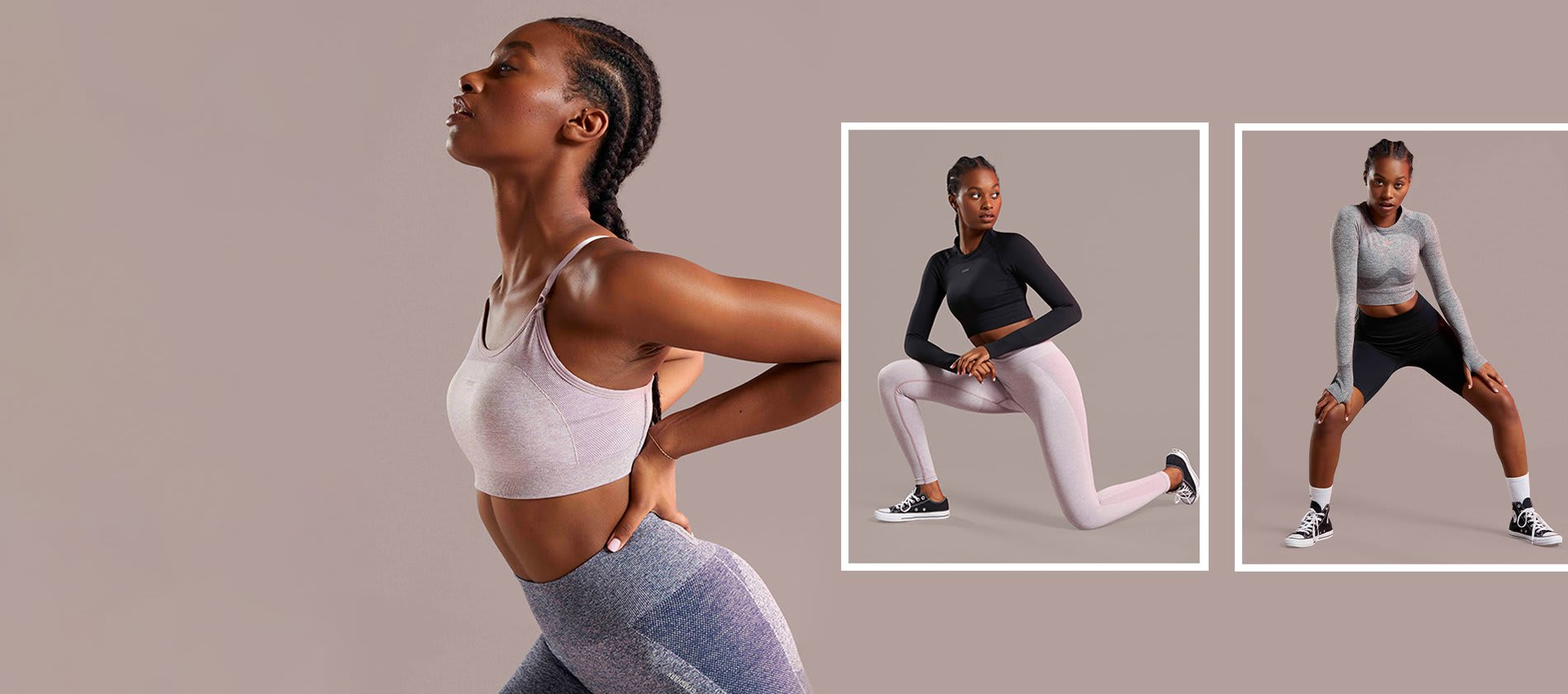 Collage of a female model posing infront of a neutral background in the new Flex collection.