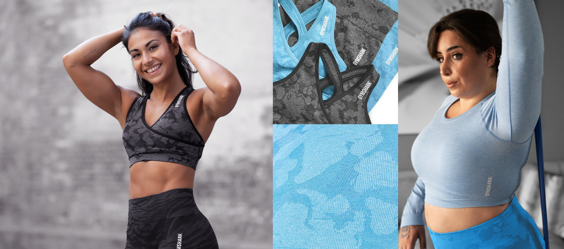 Collage featuring female athletes wearing the new Adapt Collection and close up showing off the new designs and colours.
