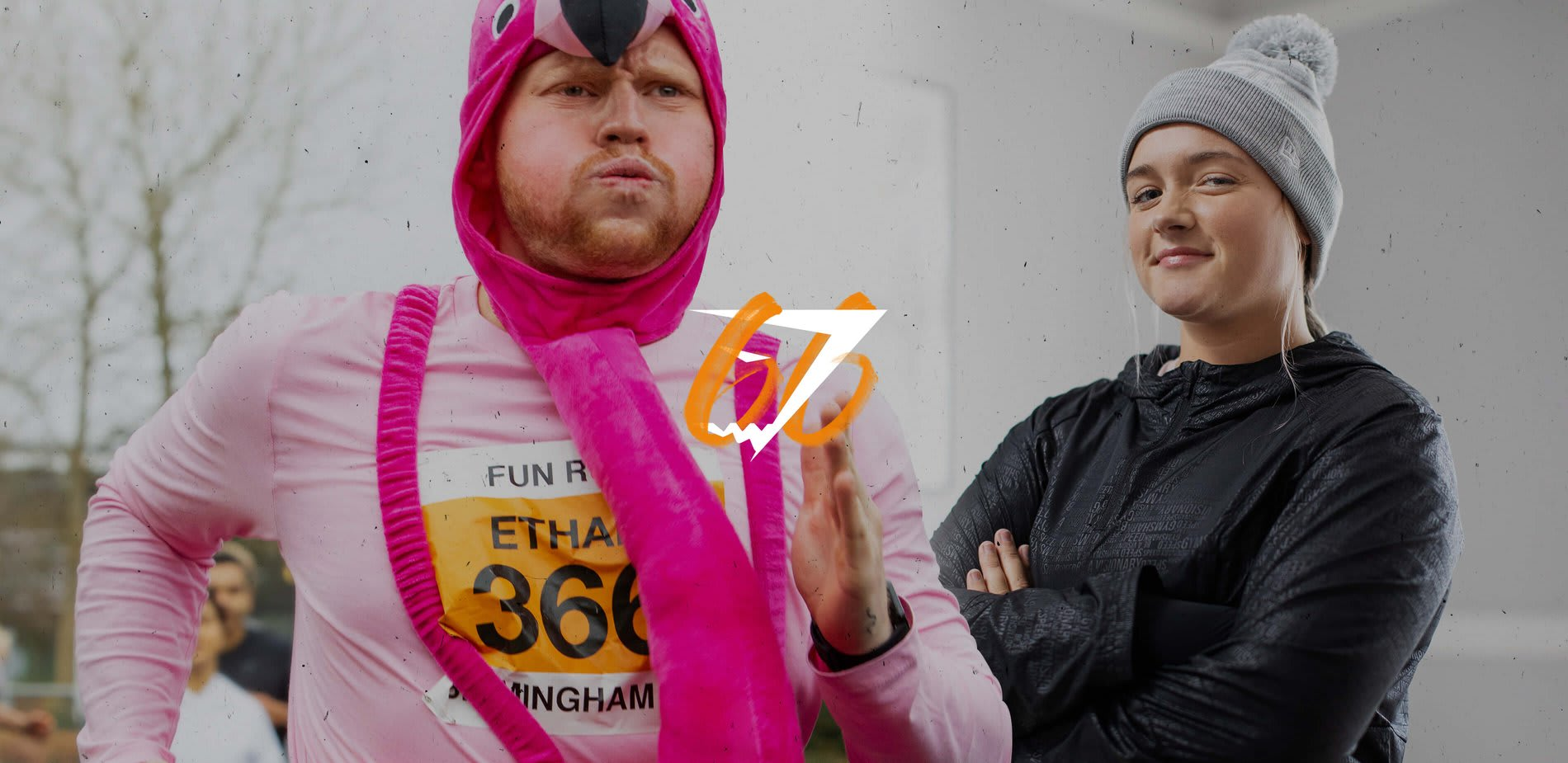 Man running marathon in flamingo outfit looking tired. Women with arms folded looking happy with herself. Gymshark 66 logo in the centre of image.