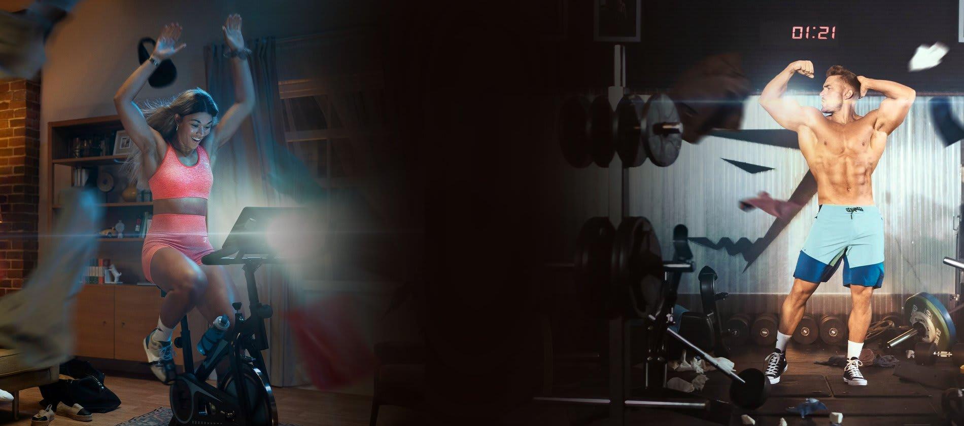 Jade Packer draagt Vital Seamless op een hometrainer in een woonkamer en poserende Ryan Terry in een zwembroek in de gym.
