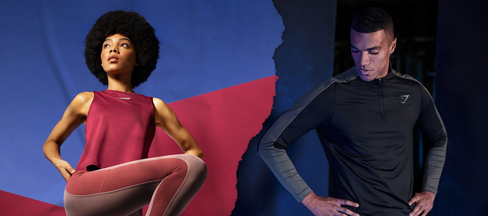 Links, dame draagt een burgundy Eurofie tanktop en leggings in de kleur taupe. Rechts, man draagt de Regulate collectie in het zwart.