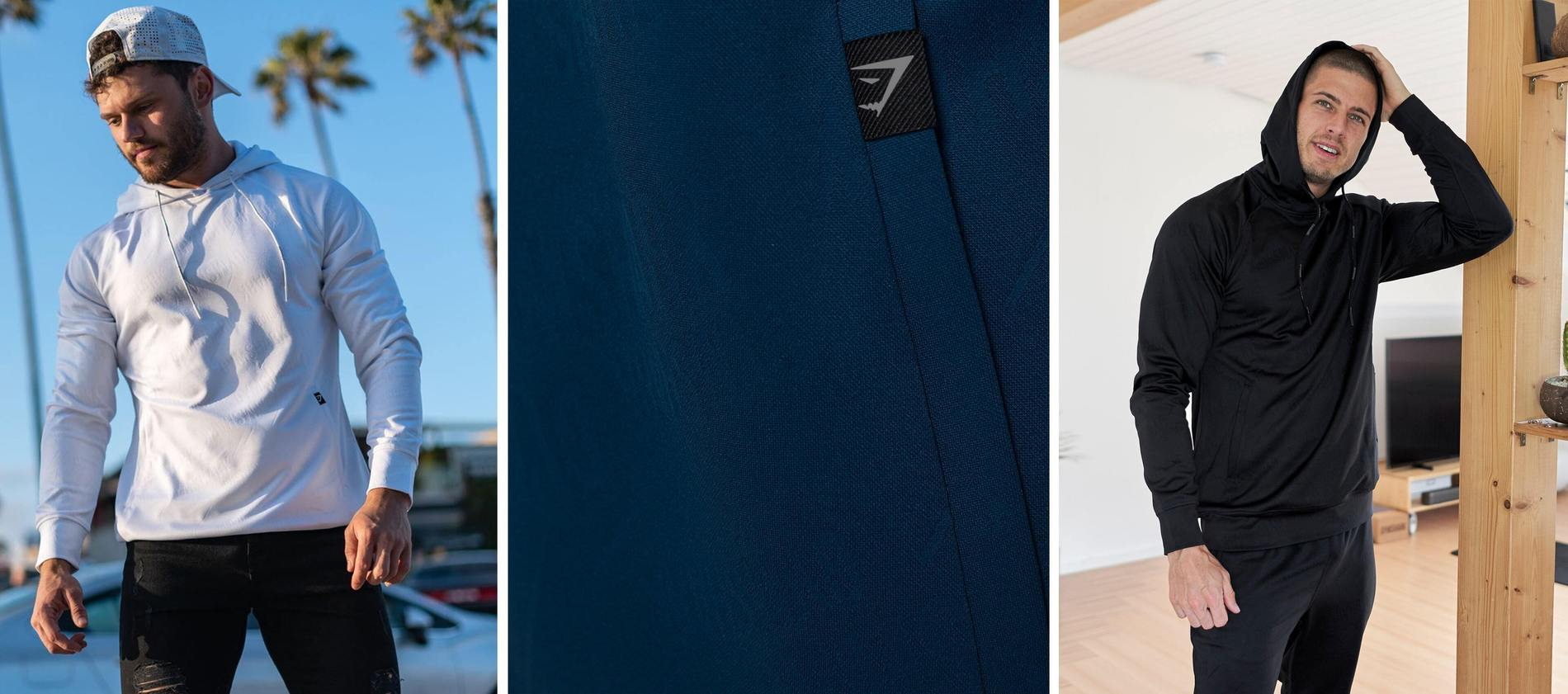 Drei Bilder mit Chris Clarke vor einer Palme, eine Nahaufnahme des Materials und ein Athlet, der in seinem Zuhause in der Reboot Kollektion posiert.