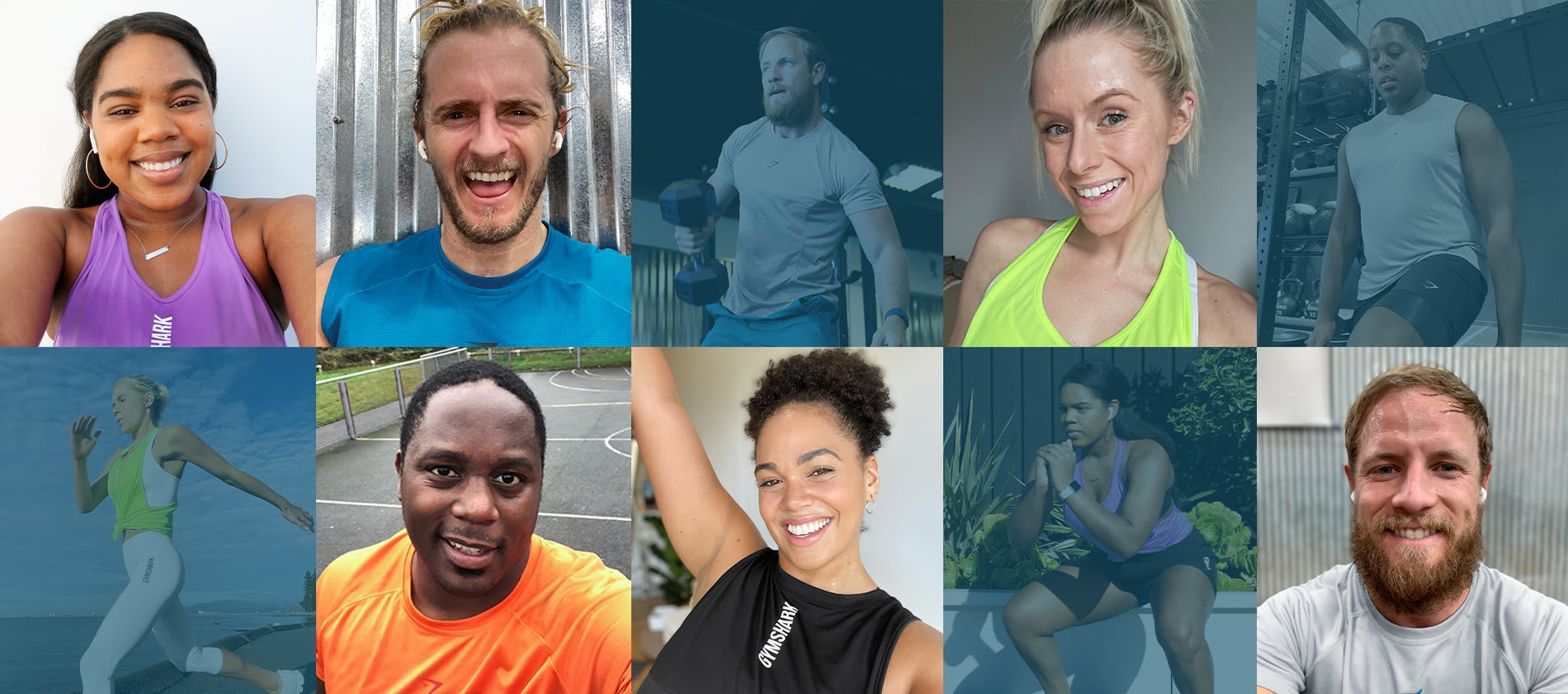 Collage of men and women working out and sweating for their goals in the new Pulse and Aspect collections.