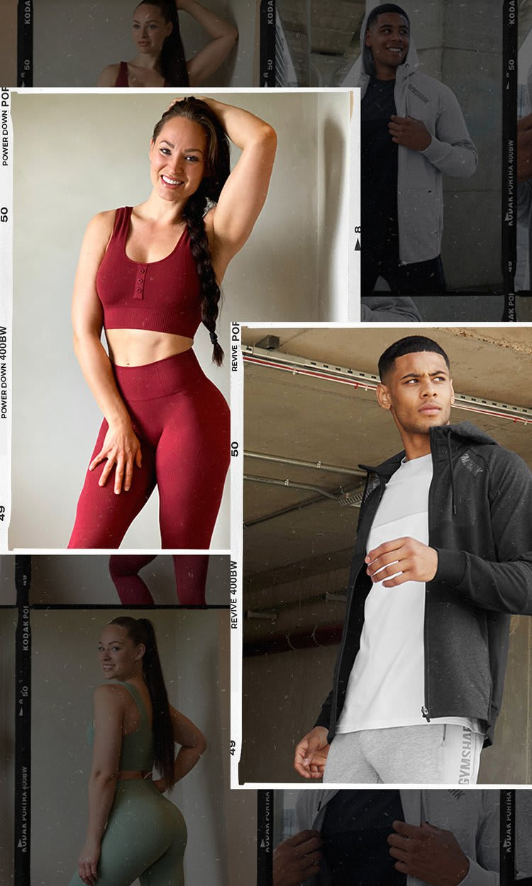 A collage of polaroid photos with Female Athlete wearing Power Down & Male Athlete wearing Revive.