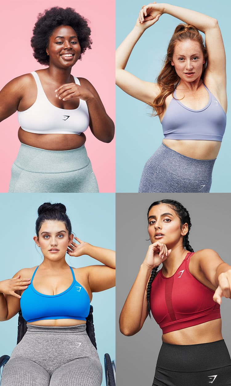 Collage of female Gymshark Athletes posing in sports bras in front of brightly coloured backgrounds.