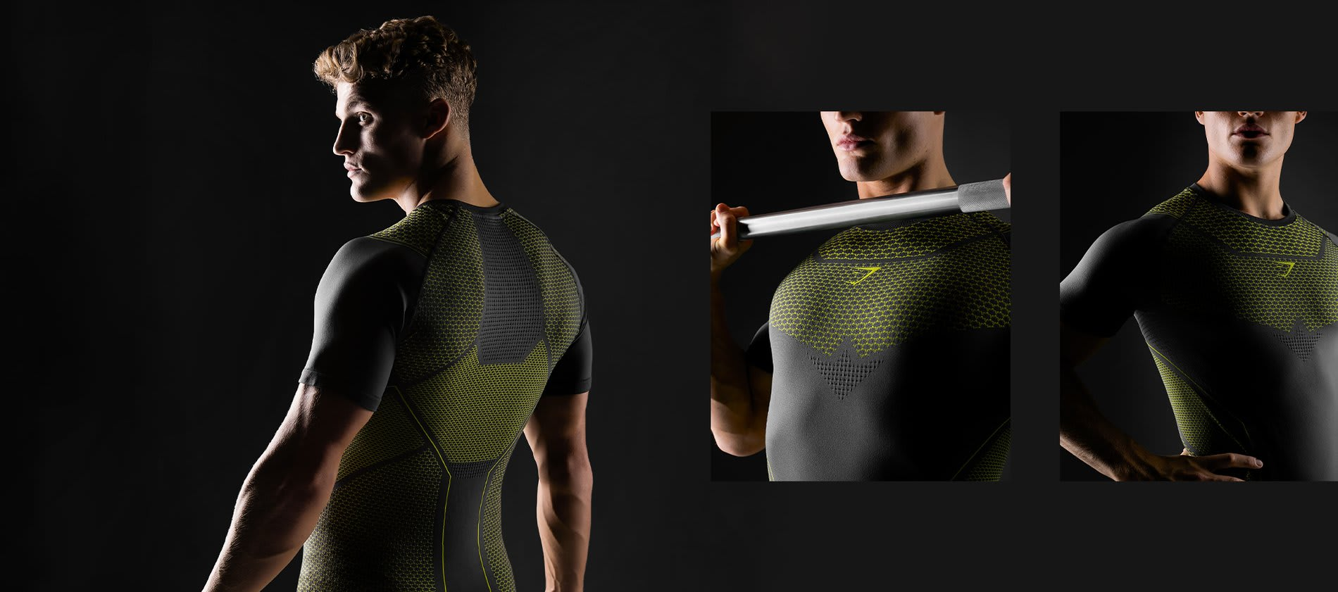 Three images showing off the design of the new Onyx t-shirt in charcoal and lime.