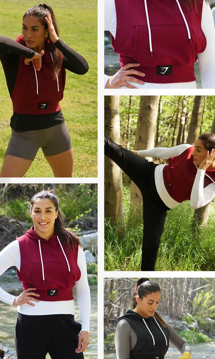 A collage of a Gymshark Athlete wearing the Combat collection in a grid format