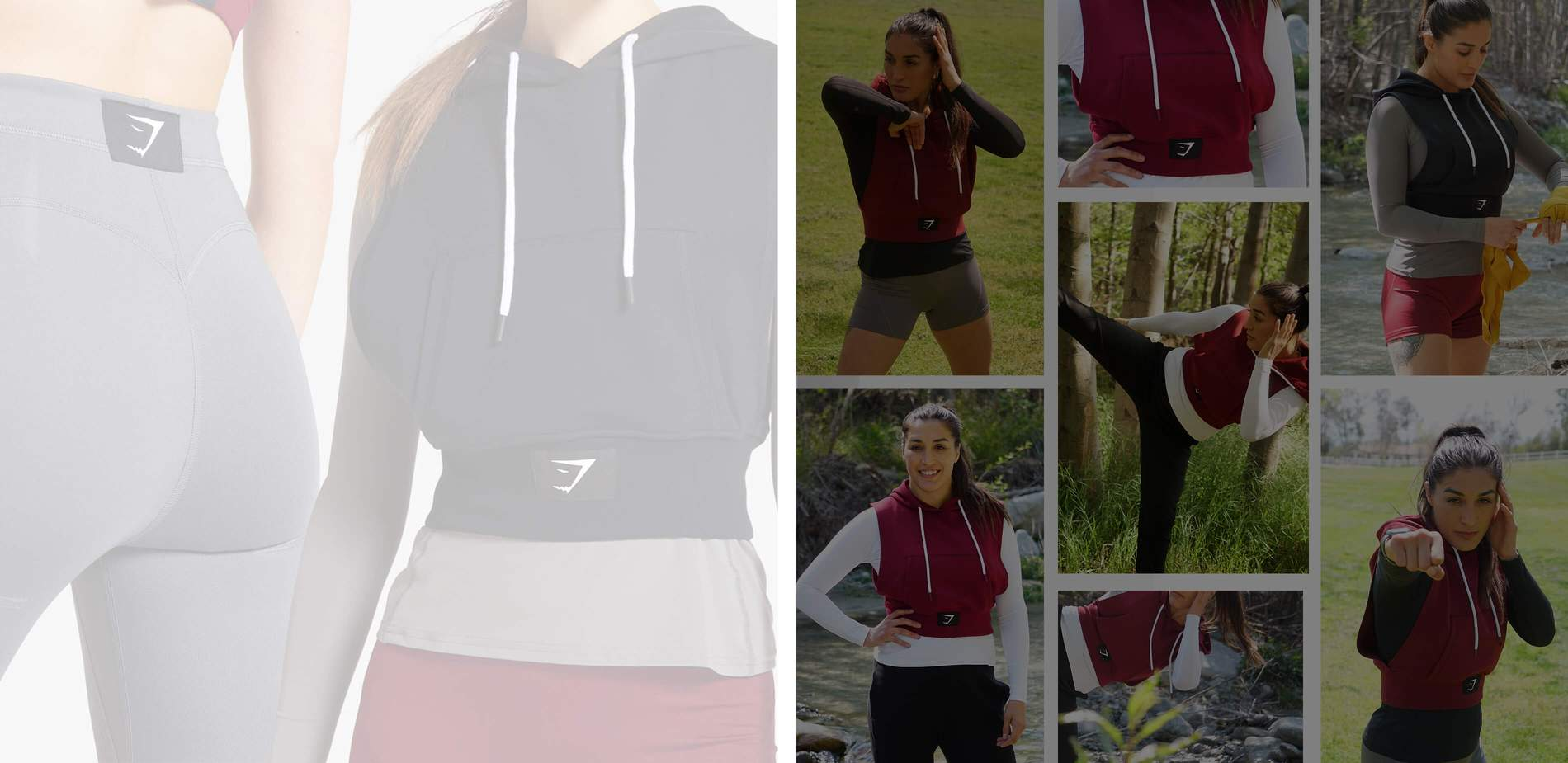 A collage of a Gymshark Athlete wearing the Combat collection in a grid format, with product imagery supporting to the left.