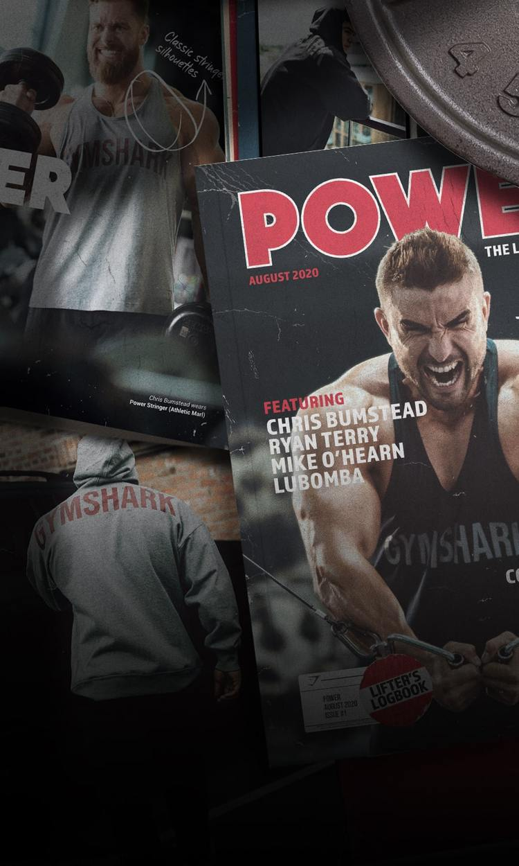 Collage of magazine covers and pages featuring male Gymshark athletes wearing the new Power collection.