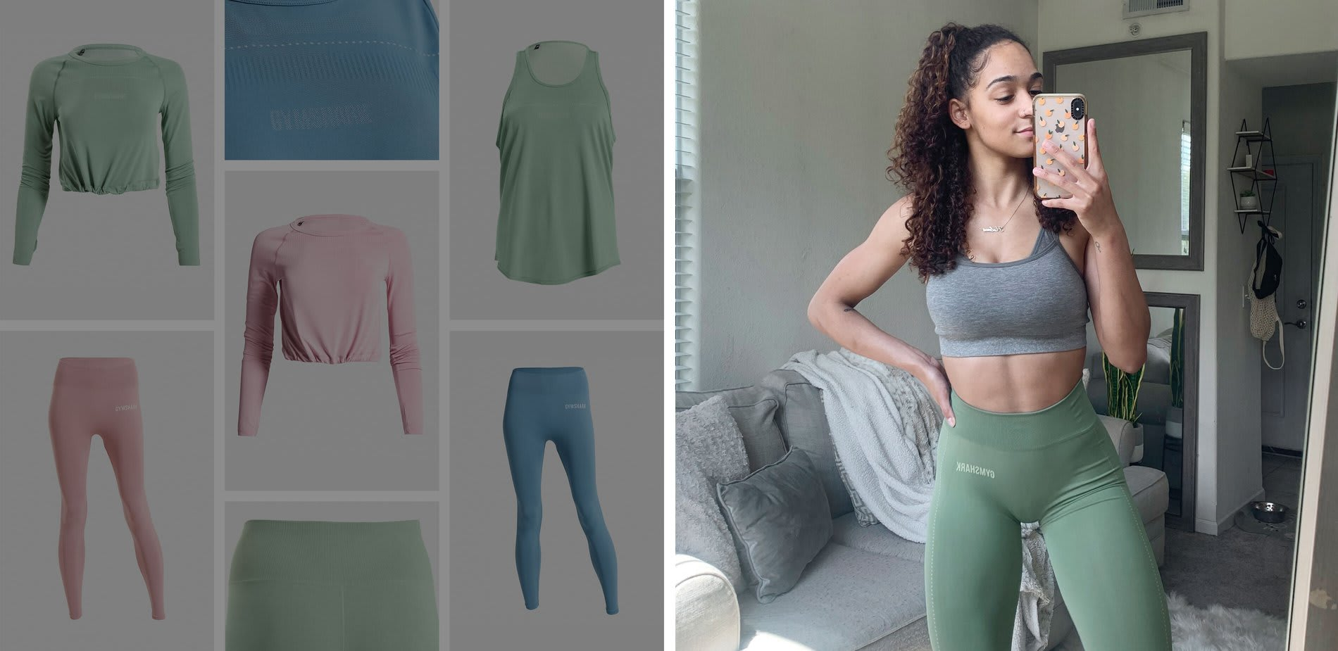 A split banner made up of a collage of ecom images and also an Athlete wearing the Breeze Lightweight Seamless Collection.