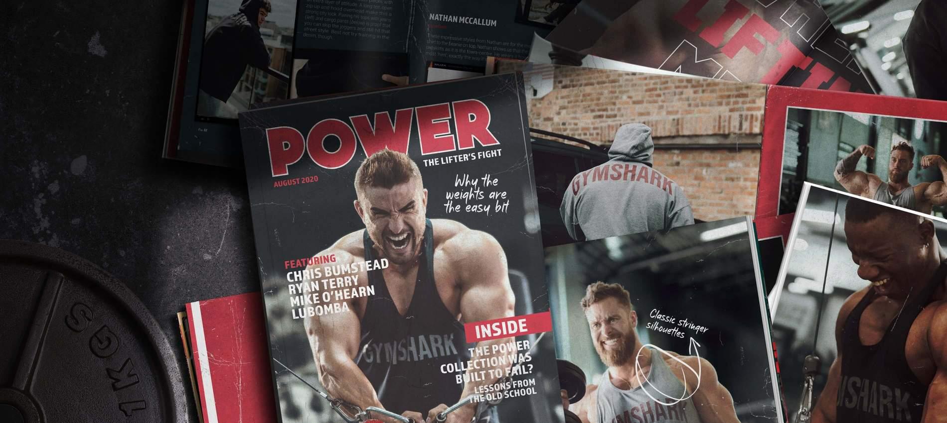 Collage von Zeitschriftcovern und -seiten mit männlichen Gymshark Athleten, die die neue Power Kollektion tragen.