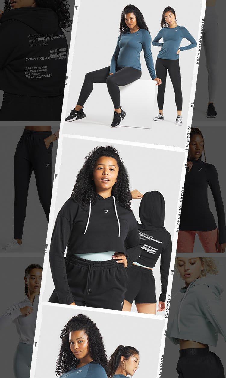 Collage eines weiblichen Models, das Hoodies, Jogger und Long Sleeve Tops von unserer Must Haves Kollektion trägt.