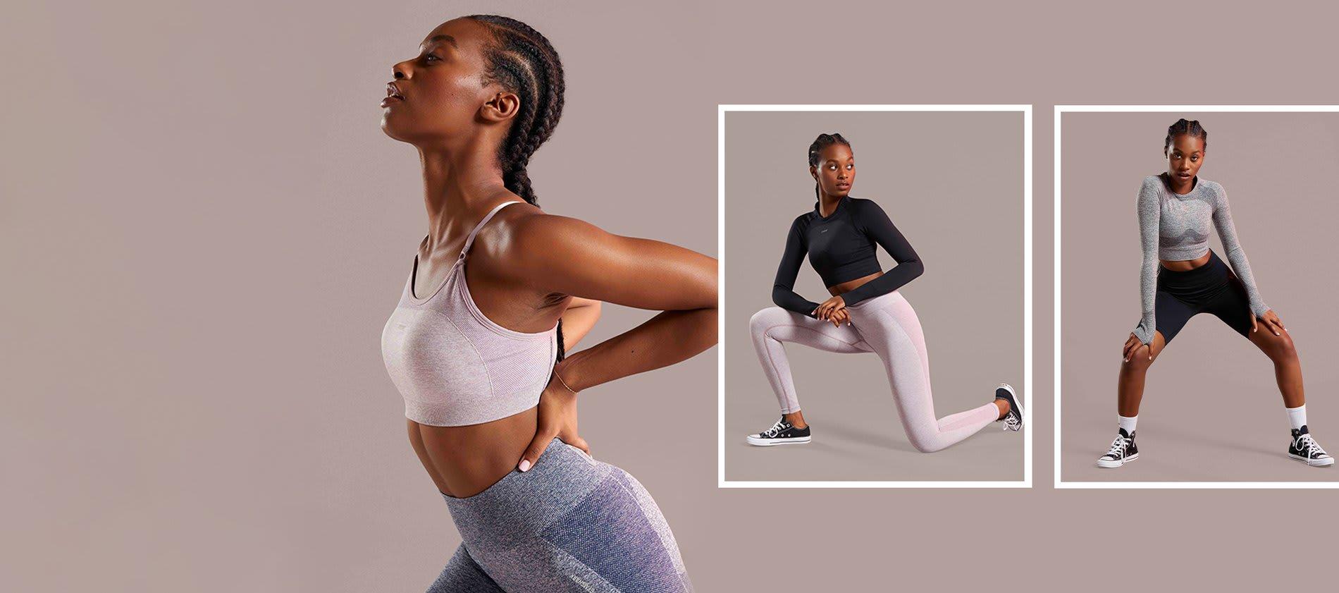 Collage eines weiblichen Models, was vor einem neutralen Hintergrund ist und die Flex Kollektion trägt.