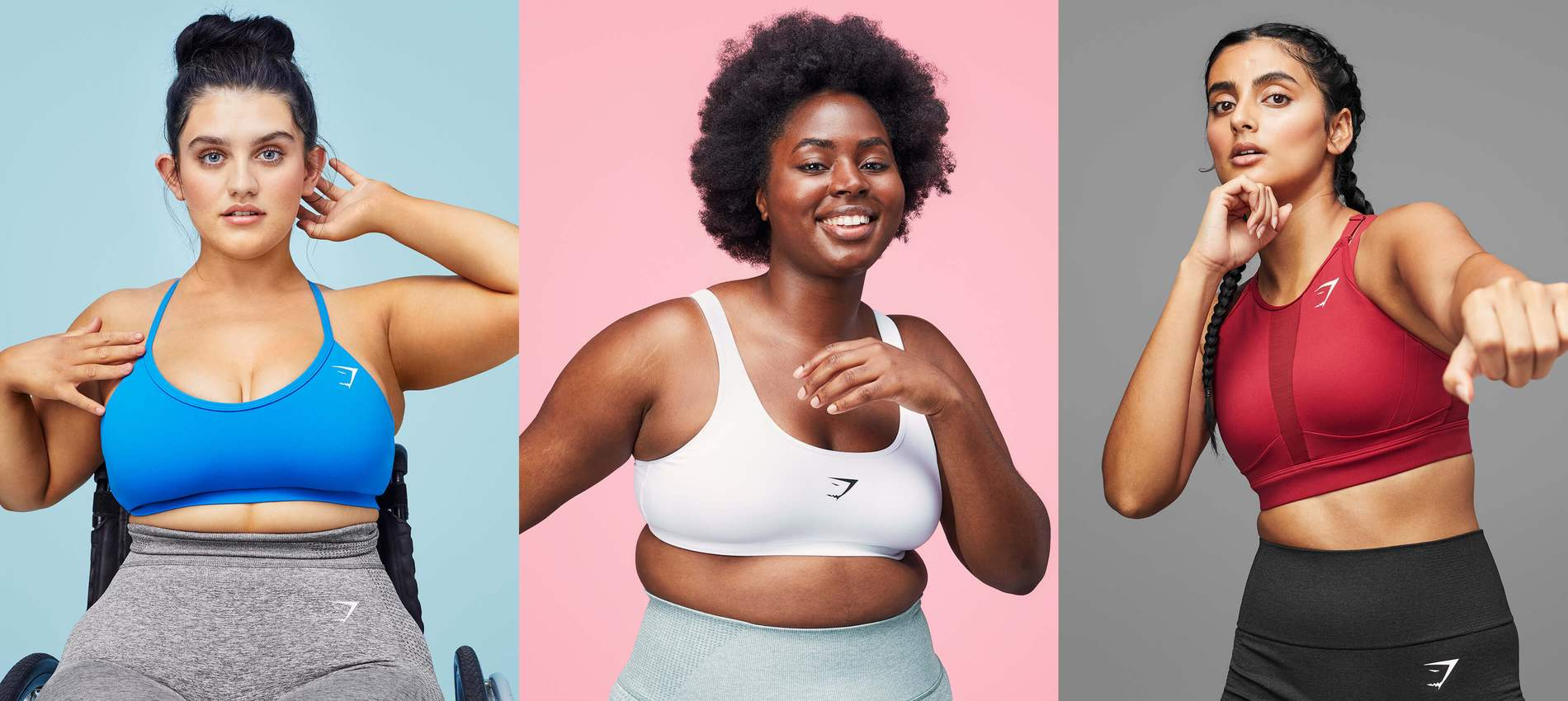 Collage mit weiblichen Athletinnen, die in Sport-BH posieren vor einem Hintergrund mit strahlenden Farben.