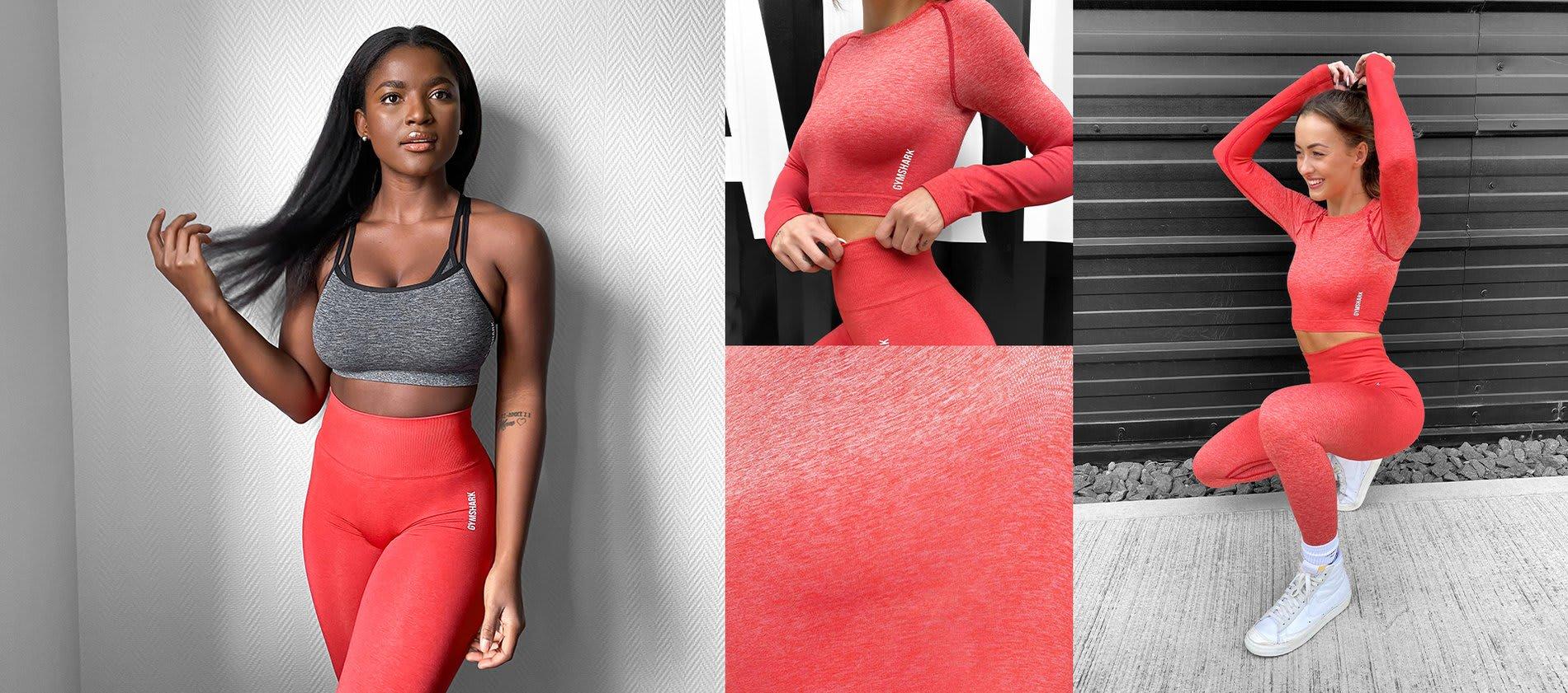 Collage einer weiblichen Athletin, die die neue Adapt Ombre Kollektion trägt und Nahaufnahmen von den neuen Designs und Farben.