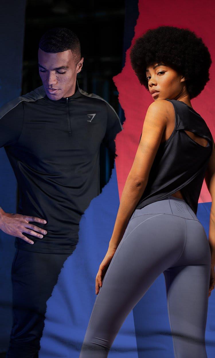À gauche une femme porte la collection Euphoria avec un t-shirt tank bordeaux et un legging taupe. À droite un homme porte la collection Regulate en noir.