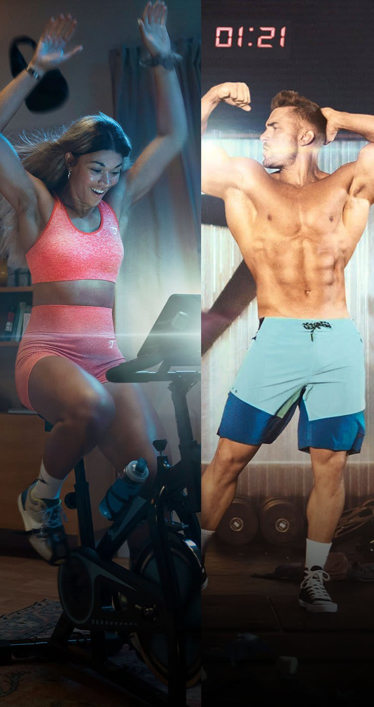 Collage of Jade Packer on an exercise bike in a lounge wearing Vital Seamless and Ryan Terry posing in a gym setting wearing swim shorts.