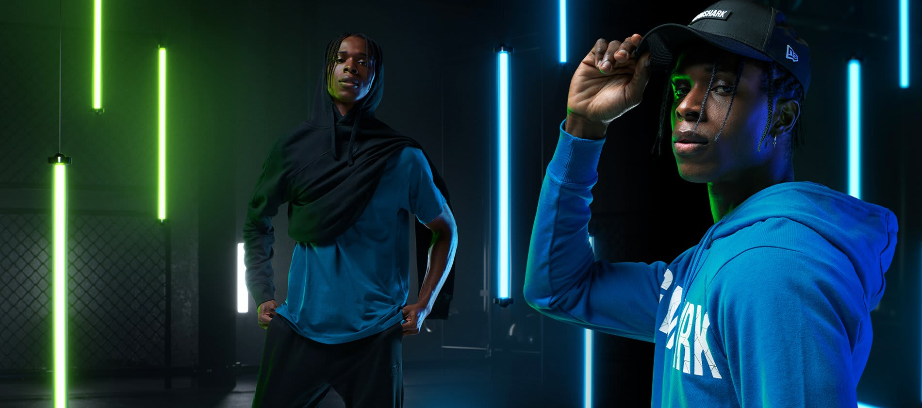 Collage of model posing in the Compound Collection and a blue Bold hoodie against a dark background with blue and green neon lights.