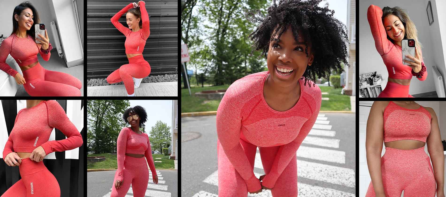 Collage of QiQi, Stephanie Joshi and Jessica Olie wearing a mix of Flex in Red and Adapt Ombre in Red.